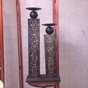 Metal Antique Finish Candleholders Set/2